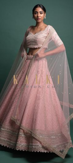 Powder Peach Lehenga In Organza Silk With Cut Dana And Pearls Embroidered Moroccan Pattern Online - Kalki Fashion Lehnga Dress, Moroccan Pattern, Lehenga Designs, Baby Girl Dresses, Bridal Lehenga, Traditional Outfits, Party Wear, Designer Dresses, Ball Gowns