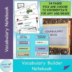 """Create a vocabulary collector with this notebook template. Includes instructions and examples for sections such as"""" expressions, types of..., synonyms, descriptions, and parts of. Vocabulary Notebook, Teaching Vocabulary, Vocabulary Activities, Speech Therapy Activities, Teaching Resources, Speech Language Therapy, Speech And Language, Verbal Communication Skills, School Age Activities"""