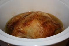 I'm trying this today.  Place a whole chicken in the crockpot, season and set on low for 7-8 hours.  When it's done, you have rotisserie style chicken and enough for 2-3 meals and homemade broth!!