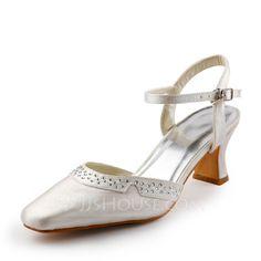 Wedding Shoes - $42.99 - Women's Satin Chunky Heel Closed Toe Pumps Slingbacks With Buckle Rhinestone (047005173) http://jjshouse.com/Women-S-Satin-Chunky-Heel-Closed-Toe-Pumps-Slingbacks-With-Buckle-Rhinestone-047005173-g5173?pos=best_selling_items_30