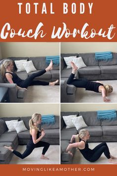 Try this at home couch workout. This routine works your arms, core, butt, and legs. These 8 moves will strengthen and tone your core and back muscles and can be done in your own living room. #couchworkout #couchexercise #workoutathome #homeworkout #coreexercise #backexercise Couch Workout, Stairs Workout, Workout Routines For Beginners, Home Exercise Routines, Easy Workouts, At Home Workouts, Squat Stands, Tricep Dips, Couch Cushions
