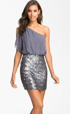 one shoulder sparkle dress.