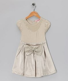 Take a look at this Cream Sequin Pleated Dress - Girls by Paulinie on #zulily today!