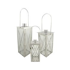 Set of 3 Silver Stainless Steel Finish Cottage Style Pillar Candle Holder Lanterns 18 ** Check out the image by visiting the affiliate link Amazon.com on image.
