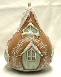 Gingerbread House Gourd Hand Painted Gourd