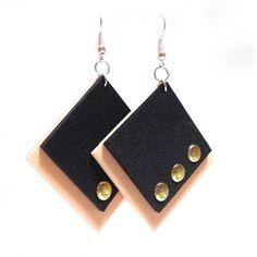 Square Orecchini con borchie dorate - Handmade