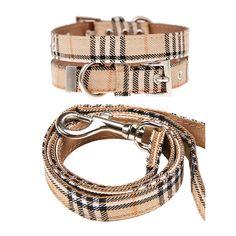 Brown Checked Tartan Fabric Collar & Leash Set