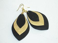 Black and gold leather earrings. Handmade leather by VelmaJewelry