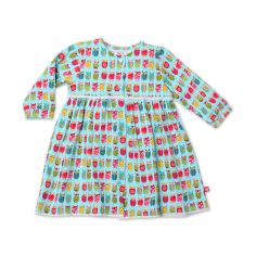 Owls L/S Baby Button Dress