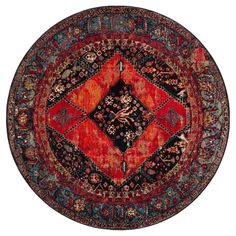 Orange Solid Loomed Round Area Rug - (6'7 Round) - Safavieh