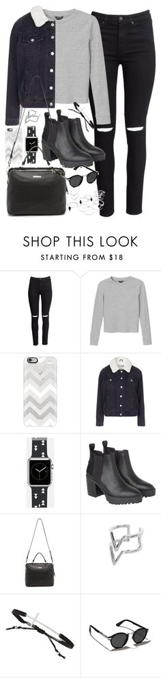 """Outfit with a denim jacket for winter"" by ferned ❤ liked on Polyvore featuring H&M, Monki, Casetify, Topshop, Linea Pelle, Edge of Ember, Tai and Abercrombie & Fitch"