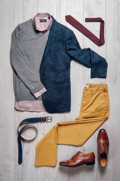 Fancy, Dapper, Men, Smart, Casual, Grey Knit, Ties, Leather Shoes, Brown, Shoes, Sunglasses, Menswear, Mens Style, Fashion, Mens Fashion, Trenery, Chinos, Wardrobe, Fathers Day, City Style, Close Up, Buttons, Blue, Mustard, Belts, Flatlay