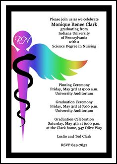 personalize your nursing invites for pinning ceremony and cheap caduceus school graduation announcement cards for nurse commencement ceremony with patented technology at InvitationsByU, number 7621IBU-NR, with lots of discounts and promos
