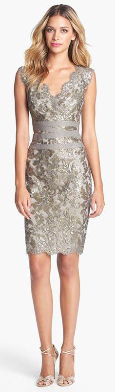 Tadashi Shoji Embellished Metalic Lace Sheath Dress