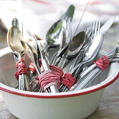 This Summer's Best Outdoor Menu   Easy Silverware Bundles   SouthernLiving.com (I have plenty of red white and blue rubber bands already, perfect!)