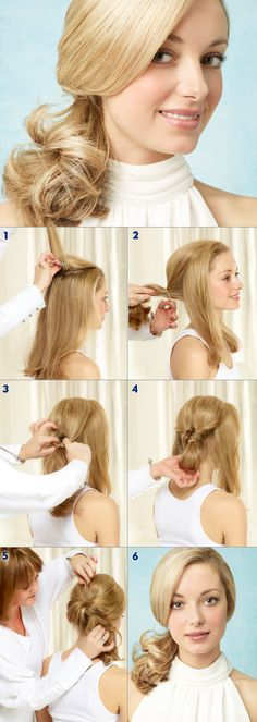 1. Tease the top of the hair. 2. Split the hair into 3 sections: one part on each side at the front and a larger section of hair for the ponytail. 3. Tie the back of the hair into a loose ponytail with an elastic band. 4. Make a hole above the elastic for the ponytail to loop through and then turn the ponytail through the hole and back out creating a twist to the hair. 5. Fold each front section of hair through the loop. 6. Pull the hair out to create more volume. #nivea #hair #style…