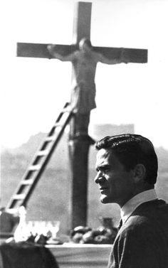 Pier Paolo Pasolini on the set of The Gospel According To St. Matthew.