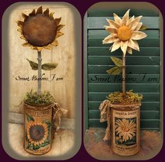 Canned Primitive Sunflower and Daisy $8.00