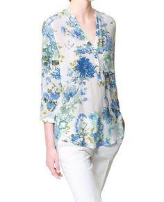 Elegant V-Neck 3/4 Length Sleeve Floral Print Blouse For Women, BLUE, M in Blouses | DressLily.com