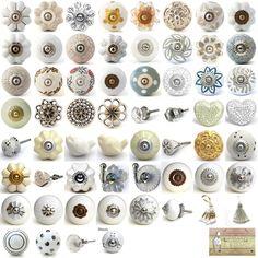 White cream ceramic knobs drawer pulls cupboard door knobs porcelain china in Home, Furniture & DIY, Home Decor, Door Accessories/ Furniture   eBay
