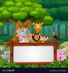 Animals with blank sign in forest vector image on VectorStock Safari Invitations, Printable Baby Shower Invitations, Jungle Theme Birthday, 1st Boy Birthday, Boarders And Frames, Happy Birthday Wallpaper, 1st Birthday Pictures, Bunny Painting, Free Printable Banner
