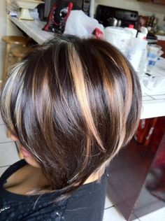 Dark brown hair with caramel and blonde highlights