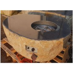Elementi Pear Granite Boulder Outdoor Firepit - Natural Gas - Setup Service