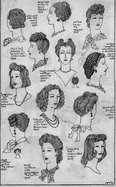 1930's and 1940's hair styles.