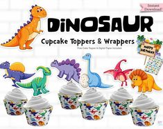 Celebrating Kids Having a Dinosaur Birthday Party? Kids will love these printable Dinosaur Cupcake Toppers for their party. Comes with coordinating Cupcake Wrapper and digital paper. Kids Birthday Cupcakes, Dinosaur Birthday Party, Birthday Parties, Birthday Cakes, Dinosaur Cupcake Toppers, First Birthday Shirts, Party Printables, Cupcake Wrapper, First Birthdays