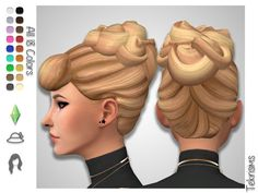"A curly updo inspired by Disney's Cinderella! This is more of a realistic shape than my other ""cartoon-y"" version. This is modeled after the actual hairstyle instead of the character art. Found in TSR Category 'Sims 4 Female Hairstyles' Sims 4 Curly Hair, Sims 4 Hair Male, Sims Hair, Sims 4 Cas, Sims Cc, Maxis, Cinderella Hair, Pelo Sims, Sims 4 Characters"