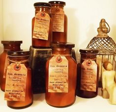 Gorgeous amber bottle candles....