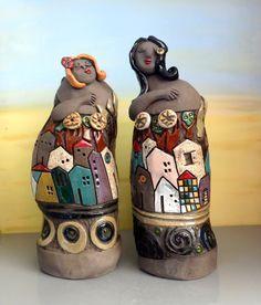 Women ceramic sculpture , set of two female ceramic figures / figurative sculpture / Israeli art / ooak handmade ceramics and pottery by ednapio on Etsy https://www.etsy.com/listing/195251436/women-ceramic-sculpture-set-of-two