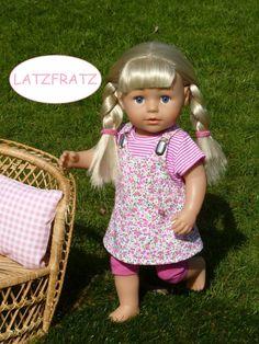 1fd78e18d6 Puppenkleidung Gr.40-45cm 3tlg Set z.B. für Babyborn /-Sister 43cm  Puppenkleid Latzkleid pink grün Blumen Shirt geringelt Legging Radler