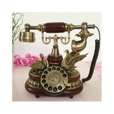 Vintage Telephone Retro Rotary Plate Gold Cord Antique Parlour Vtg Home Office