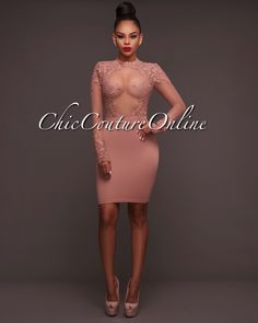 Chic Couture Online - Russie Mocha Embroidery Lace Mesh Accent Dress, (http://www.chiccoutureonline.com/russie-mocha-embroidery-lace-mesh-accent-dress/)