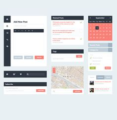 XOO Plate :: Fantastic Flat UI Blog Elements Kit PSD - With minimal design, here is a great selection of  flat UI blog elements - post entry, calendar, nav  bar, tags, map, and comments - with a touch of color. PSD