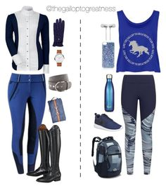 """""""Midnight Mood"""" by thegalloptogreatness on Polyvore featuring Under Armour, VERONA, The Horse, Topshop, Cynthia Rowley, S'well, The North Face and NIKE"""