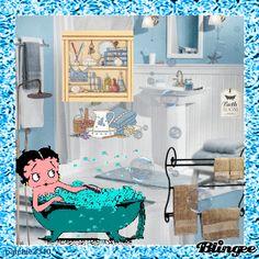 Betty Boop taking Bubble bath