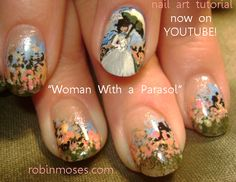 Woman with a Parasol Nails by Robin Moses, Floral, Flowers, Pastel, Painterly, Nail Art, Victorian, Youtube, Cool Nail Designs, Colorful Nails, Nail It! Magazine
