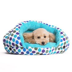 Burger Bed Small Dog Snuggle Bed - Blue Dots | PupLife Dog Supplies