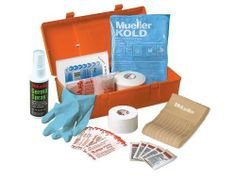 "Mueller Team First Aid Kit Complete, 2-Pound by Mueller. Save 6 Off!. $30.15. Basic supplies for taping, cold therapy and wound care. 1 Pair Exam Gloves, 1-3"" Wonderwrap, 5 1/32oz packets water-Jel Triple Antiobiotic. Measures 10.75"" x 5"" x 3.5""  Contents May Vary. Economical,light sturdy kit. contains: 1 roll m-tape, 1 roll m-wrap, 1 germa spray 2oz,1-elastic bandage, 10-3x3 gauze pads, 4 - 4x4 gauze pads, 12-m-strips,reg, 6-m-strips, lg, 1-muellerkold instant cold pack"