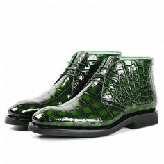 Alligator leather lace up chukka boots for Men. Alligator chukka boots can be a perfect choice for men who want to have easy to wear and protective pair of shoes to use. Handmade Leather Shoes, Leather And Lace, Leather Boots, Mens Boots Fashion, Sneakers Fashion, Expensive Mens Shoes, Dress With Boots, Dress Shoes, Chukka Shoes