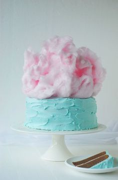 blue candy floss cloud cake - chocolate