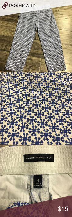 Blue print Capri pants ADORABLE Blue print Capri pants size 4! Like new. Barely worn! Super cute for spring time! Pants Capris