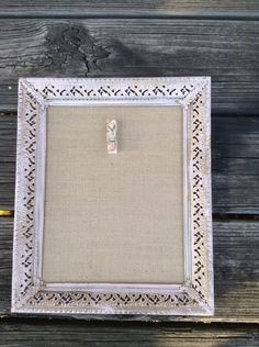 Shabby chic memory board, light pink Up cycled frame with burlap panel, free shipping on Etsy, $35.00