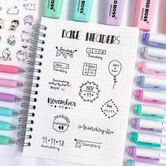 New doodle ideas for your bullet journal/study notes💕also this was the last page of my dotted notebook and it makes me… Bullet Journal Headers, Bullet Journal Notebook, Bullet Journal Layout, Bullet Journal Inspiration, Daily Journal, Bullet Journal Calendrier, Letras Cool, Stationery Craft, Bullet Journal Aesthetic
