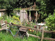 Bauerngarten mit Fahrrad