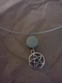 Authentic Jade and Tibetan Silver Pentacle Necklace