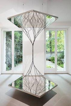 Tomas Saraceno - Surface and Beyond Exhibition (Turkey Instalation Art, Mirror Art, Public Art, Sculpture Art, Sculpture Ideas, Home Art, Contemporary Art, Contemporary Sculpture, Interior Design