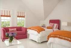 there's my pop of orange I so love, as of late. cute room.